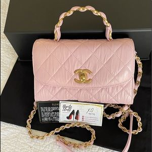 Chanel 21S CC Links Mini Top Handle Pink GHW NEW